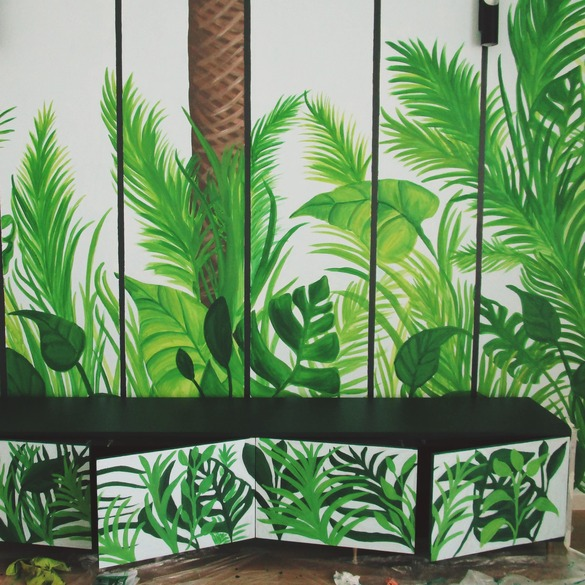 Mural painting in home with palms