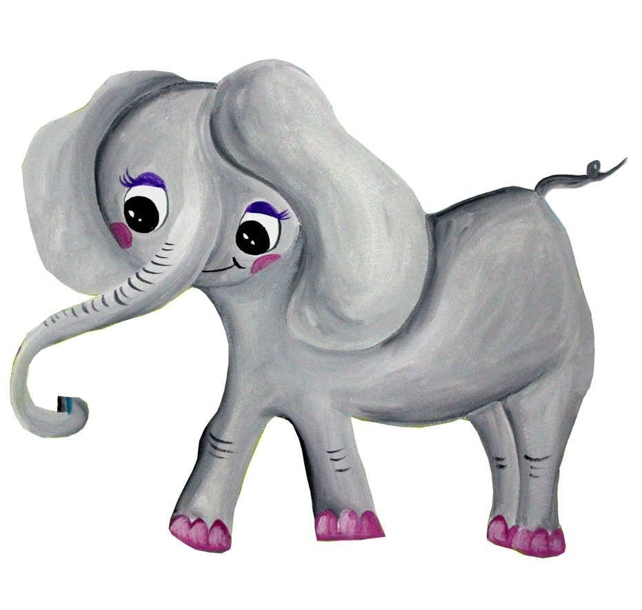 Illustration with a baby girl elephant