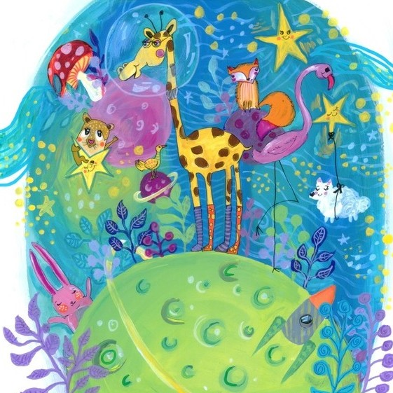 Illustration for the book A Giraffe in Space O girafă în spațiu by Cristina Donovici