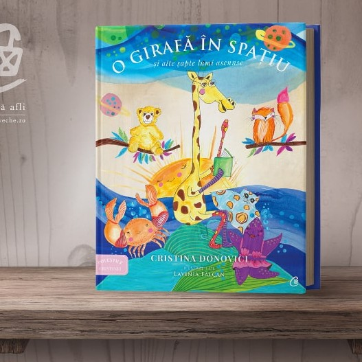 Cover Illustration for the book A Giraffe in Space O girafă în spațiu by Cristina Donovici