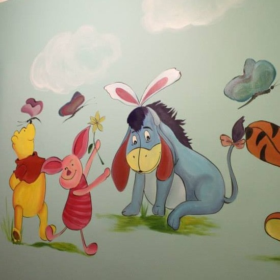 Mural painting kid dormitory with Winnie The Pooh