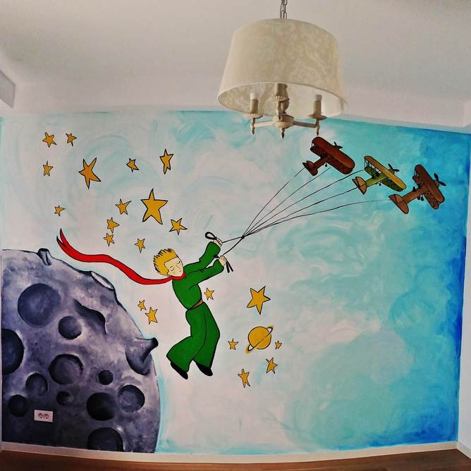 Mural painting kid dormitory with The Little Prince